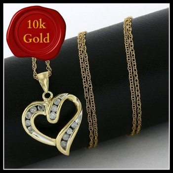 Solid 10k Yellow Gold, 0.20ctw Genuine Diamonds Heart Shape Necklace
