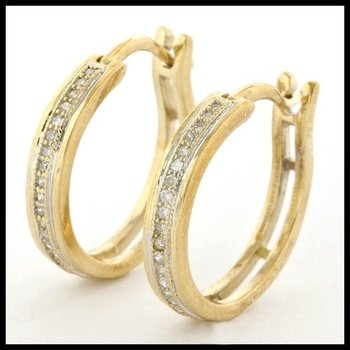 Solid 10k Yellow Gold, 0.20ctw Genuine Diamonds Hoop Earrings