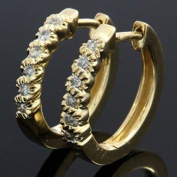 Solid 10k Yellow Gold, 0.23ctw Genuine Diamonds Huggie Earrings