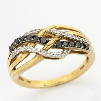 Solid 10k Yellow Gold, 0.25ctw Genuine Black & White Diamonds Ring sz 6 3/4