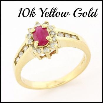 Solid 10k Yellow Gold, 0.25ctw Genuine Diamond & 0.50ctw Ruby Ring Size 6.75
