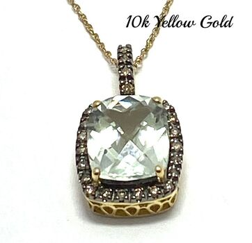 Solid 10k Yellow Gold, 0.25ctw Genuine Diamond & 7.00ctw Green Amethyst Necklace