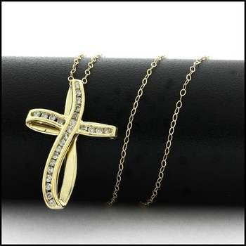 Solid 10k Yellow Gold, 0.25ctw Genuine Diamond Cross Necklace