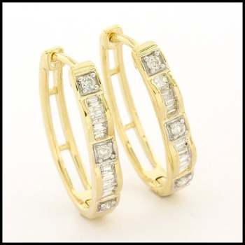Solid 10k Yellow Gold, 0.25ctw Genuine Diamond Earrings