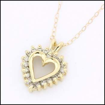Solid 10k Yellow Gold, 0.25ctw Genuine Diamond Heart Necklace