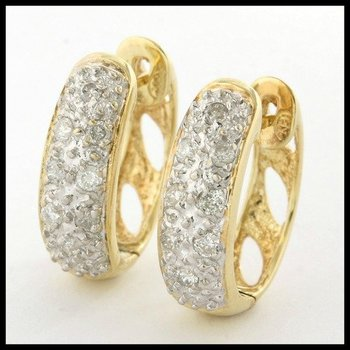 Solid 10k Yellow Gold, 0.25ctw Genuine Diamond Latch Back Earrings