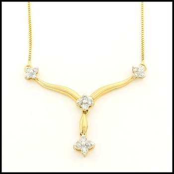 Solid 10k Yellow Gold,  0.25ctw Genuine Diamond Necklace