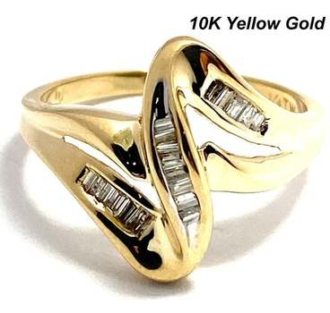 Solid 10k Yellow Gold, 0.25ctw Genuine Diamond Ring Size 7