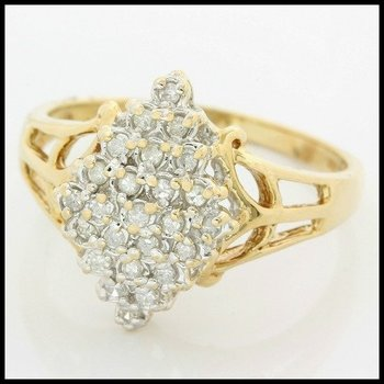 Solid 10k Yellow Gold, 0.25ctw Genuine Diamond Ring size 8.75