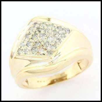 Solid 10k Yellow Gold, 0.25ctw Genuine Diamond Unisex Ring sz 8.75
