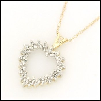 Solid 10k Yellow Gold, 0.25ctw Genuine Diamonds Heart Shape Necklace
