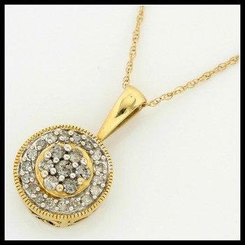Solid 10k Yellow Gold, 0.25ctw Genuine Diamonds Necklace