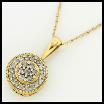 Solid 10k Yellow Gold, 0.25ctw Genuine Diamonds Necklace