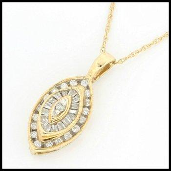 Solid 10k Yellow Gold, 0.25ctw Genuine Diamonds Pendant Necklace