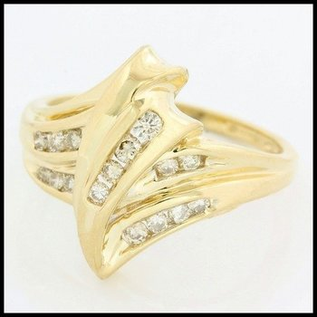 Solid 10k Yellow Gold, 0.25ctw Genuine Diamonds Ring size 6