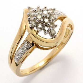 Solid 10k Yellow Gold, 0.25ctw Genuine Diamonds Ring size 7