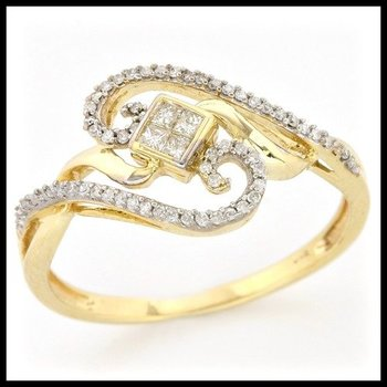 Solid 10k Yellow Gold, 0.25ctw Genuine Diamonds Ring size 8.5