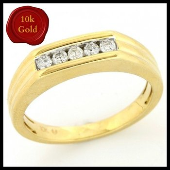 Solid 10k Yellow Gold, 0.25ctw Genuine Diamonds Ring size 9.5