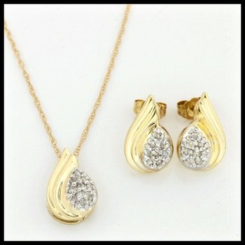 Solid 10k Yellow Gold, 0.25ctw Genuine Diamonds Set of Necklace & Earrings