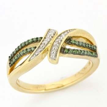 Solid 10k Yellow Gold, 0.25ctw Genuine Green & White Diamonds Ring sz 6 3/4