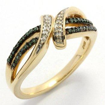 Solid 10k Yellow Gold, 0.25ctw Genuine Green & White Diamonds Ring sz 6.5