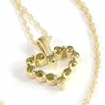 Solid 10k Yellow Gold 0.25ctw Genuine Yellow Diamond Heart Necklace