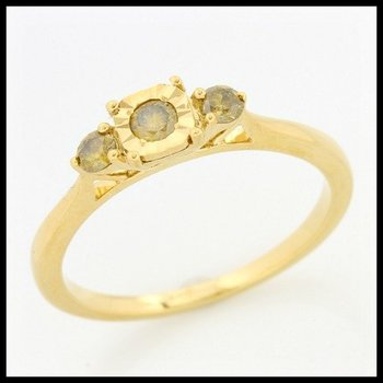 Solid 10k Yellow Gold, 0.25ctw Genuine Yellow I1 Diamonds Ring size 7