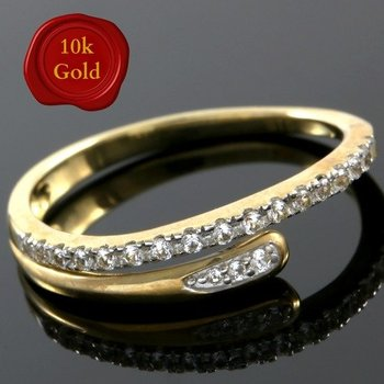 Solid 10k Yellow Gold, 0.25ctw White Sapphire Ring sz 7