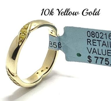Solid 10k Yellow Gold, 0.27ctw Genuine Fancy Yellow Diamond Ring Size 7