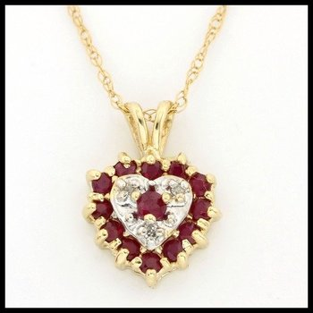 Solid 10k Yellow Gold, 0.27ctw Genuine Ruby & Genuine Diamonds Necklace