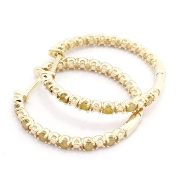 Solid 10k Yellow Gold, 0.29ctw Genuine Diamonds Hoop Earrings