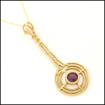 Solid 10k Yellow Gold, 0.30ctw Genuine Amethyst Antique Estate Necklace