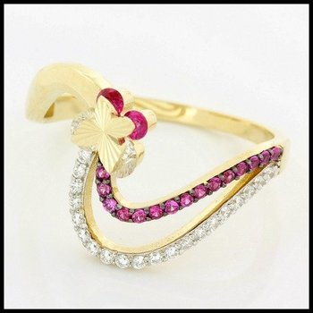 Solid 10k Yellow Gold, 0.30ctw Genuine Ruby & White Sapphire Ring size 7 3/4