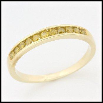 Solid 10k Yellow Gold, 0.30ctw Genuine Yellow I1 Diamonds Ring sz 7