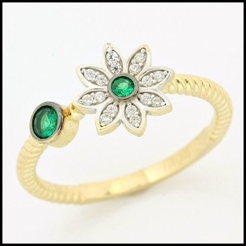 Solid 10k Yellow Gold, 0.31ctw Emerald & White Sapphire Ring size 7