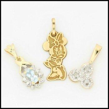 Solid 10k Yellow Gold, 0.31ctw Genuine Diamonds & Blue Topaz Lot of 3 Pendants