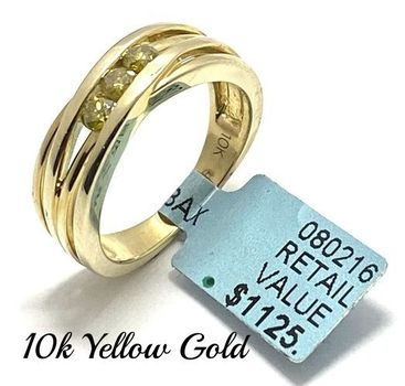 Solid 10k Yellow Gold, 0.32ctw Genuine Fancy Yellow Diamond Ring Size 7