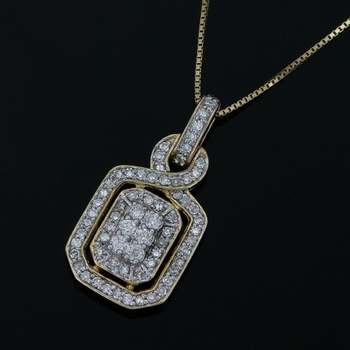 Solid 10k Yellow Gold, 0.33ctw Genuine Diamond Necklace