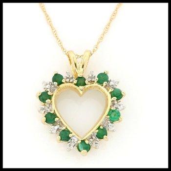 Solid 10k Yellow Gold, 0.33ctw Genuine Emerald & Genuine Diamonds Necklace