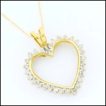 Solid 10k Yellow Gold, 0.35ctw Genuine Diamond Heart Necklace