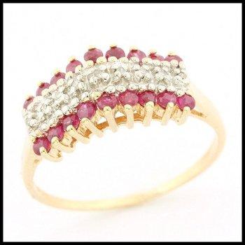 Solid 10k Yellow Gold, 0.35ctw Genuine Ruby & 0.05ctw Genuine Diamond Ring sz 8