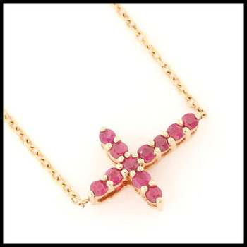 Solid 10k Yellow Gold, 0.35ctw Genuine Ruby Cross Necklace