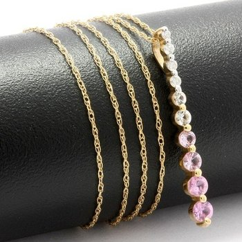 Solid 10k Yellow Gold, 0.35ctw Pink & White Topaz Necklace