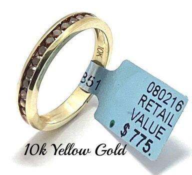 Solid 10k Yellow Gold, 0.38ctw Genuine Chocolate Diamond Ring Size 7