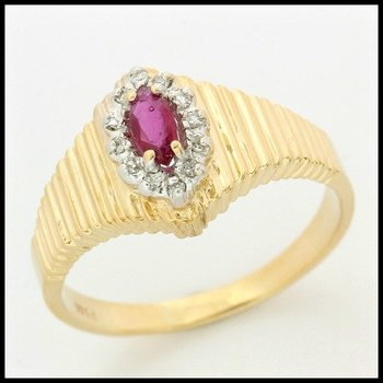 Solid 10k Yellow Gold, 0.38ctw Genuine Diamonds & Genuine Ruby Ring sz 8.5