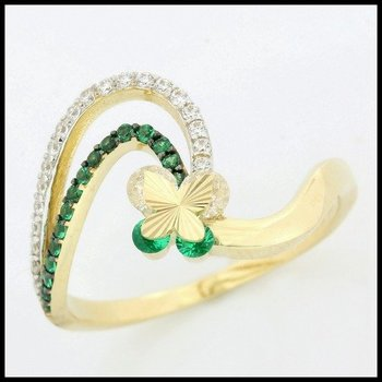 Solid 10k Yellow Gold, 0.40ctw Emerald & White Sapphire Ring size 7.5