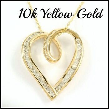 Solid 10k Yellow Gold, 0.40ctw Genuine Diamond Necklace