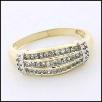 Solid 10k Yellow Gold, 0.40ctw Genuine Diamond Ring Size 7.25