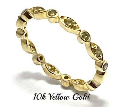 Solid 10k Yellow Gold, 0.40ctw Genuine Fancy Yellow Diamond Eternity Band Ring Size 7