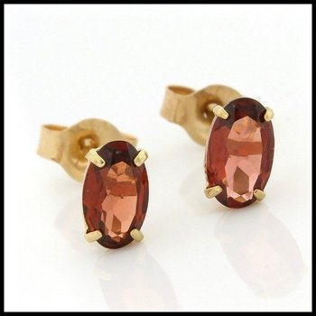 Solid 10k Yellow Gold, 0.40ctw Genuine Garnet Stud Earrings